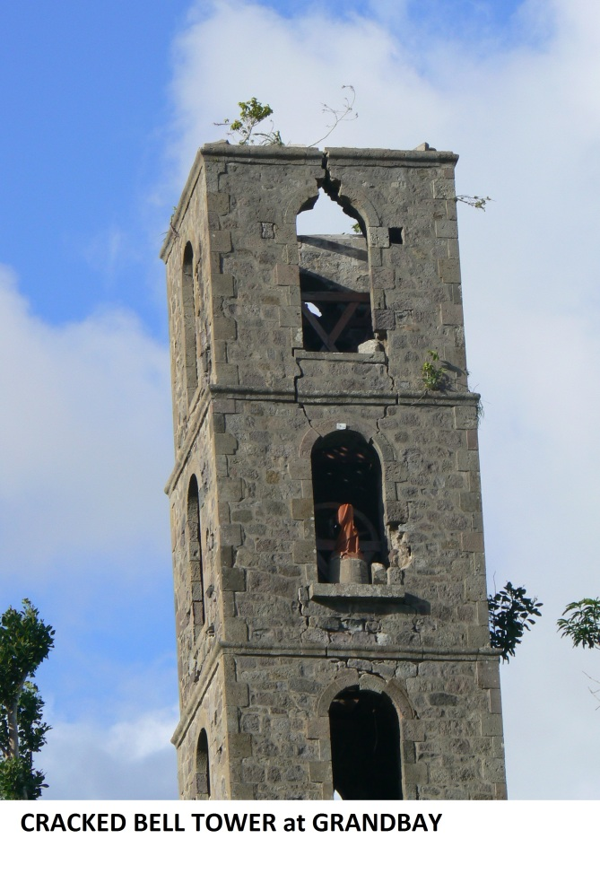 d cracked bell tower at Grandbay Jan 2018