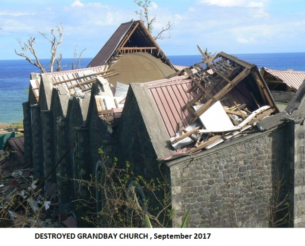 Destroyed Grandbay church Oct 2017